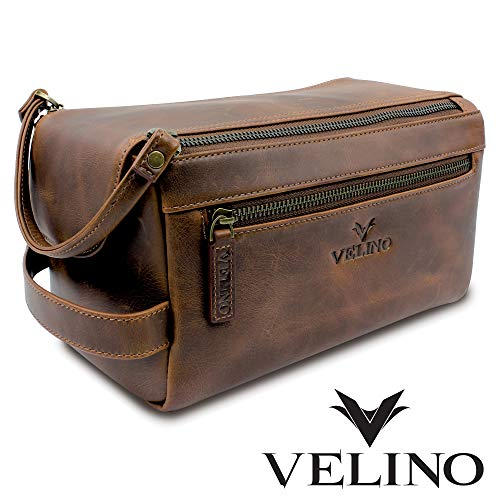 6ab78d27860c Velino Handmade Genuine Buffalo Leather Unisex Toiletry Bag Travel Dopp Kit  Grooming and Shaving Kit ~ Gift for Men Women ~ Hanging Zippered Cosmetic  ...
