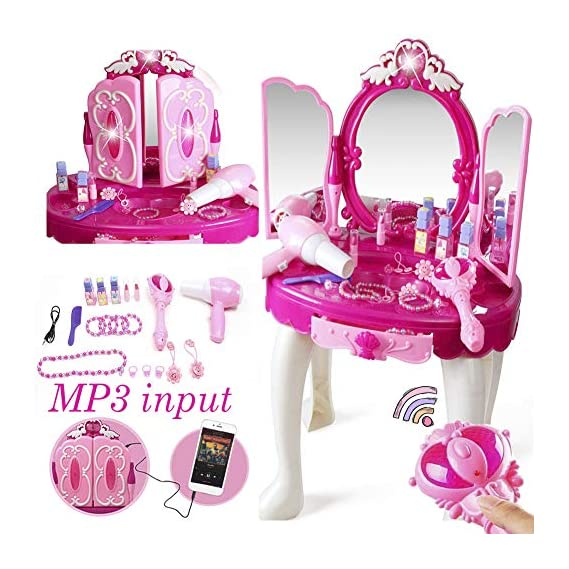 Khilona House Make Up Dressing Table Glamour & Beauty Set with Mirror,Stool,Hair Dryer,Lipstick,Necklace & Accessories
