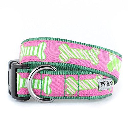 The Worthy Dog Preppy Bones Pink Collar Adjustable Designer Pet Dog Collar, Pink, XL