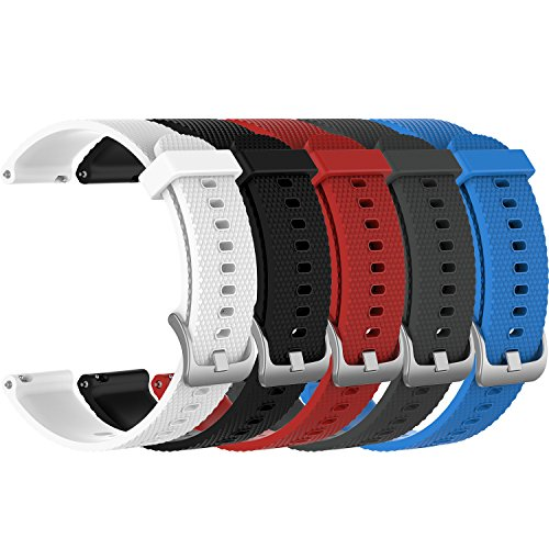 RuenTech Replacement For Garmin Vivoactive 3/Vivomove HR/Vivomove Watch Band 20mm Quick Release Silicone Bands By (5-Pack)