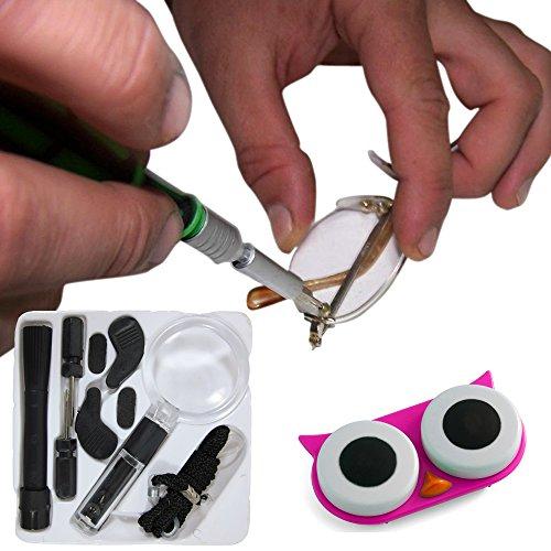 15 Piece Kit de réparation de lunettes en noir ou marine plus adorable yeux de chouette Contactez Lens Case
