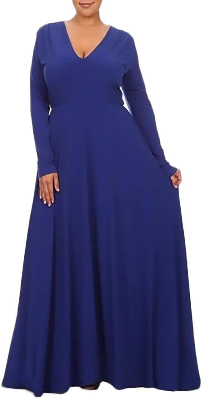 Damen Ballkleider Lang Große Größen Einfarbig Cocktailkleid