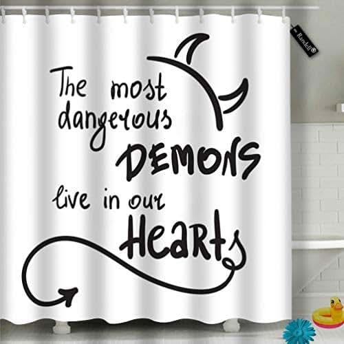 Shower Curtain Set The Most Dangerous Demons Live Our Hearts Simple Inspire 60