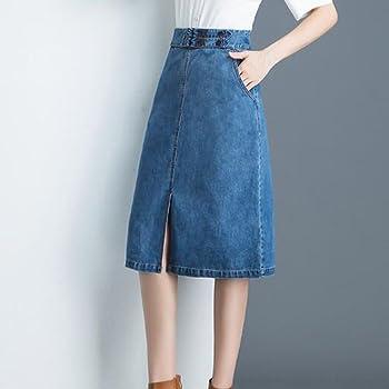 NIAIS Falda De Jeans con Abertura Delantera para Mujer Falda De ...
