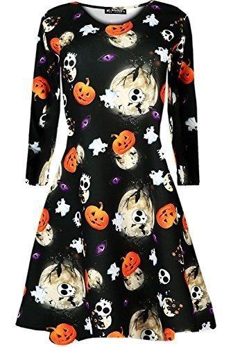 Be Jealous Womens Ladies Pumpkin Skull Bat Spider Cobweb Flared Smock Party Skater Swing Mini Dress Top Plus Size 8-34