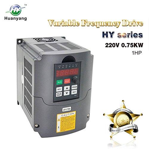 VFD 220V 0.75KW 1hp Variable Frequency Drive CNC VFD Motor Drive Inverter Converter for Spindle Motor Speed Control HUANYANG HY-Series(0.75KW, 220V)