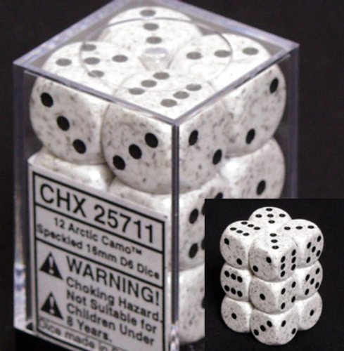 Chessex D6 Speckled - Chessex Dice d6 Sets: Arctic Camo Speckled - 16mm Six Sided Die (12) Block of Dice