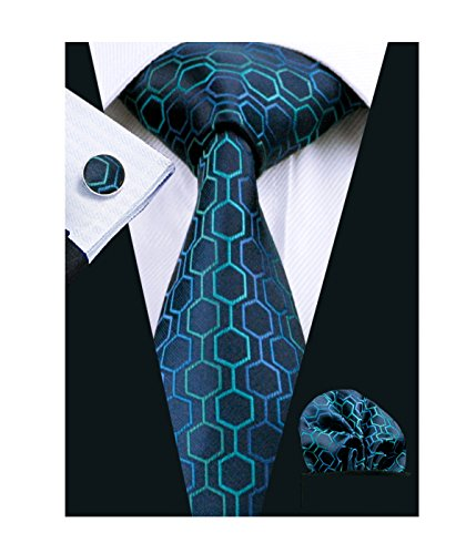 Blue Pattern Tie - Hi-Tie Fashion Navy Blue Tie Set Geometric Pattern