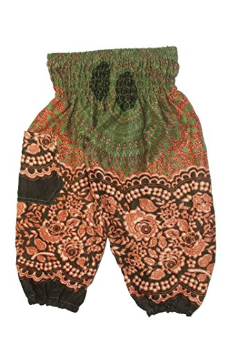 Lofbaz Kids Hippie Harem Aladdin Rose Flower Child Pants Bohemian Baggy Green Size 4-5Y -