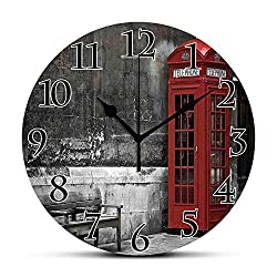 Silent Wall Clock,London,Famous British Phone Boot in London Streets Important Icon of Town Urban Life Photo Decorative,Red Grey Non Ticking Wall Clock/Desk Clock for Office Home Decor 9.5 inch