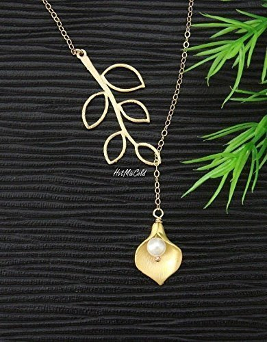 (Calla Lily Necklace, White Pearl, Branch Leaf, Dainty Silver Necklace, Gold Lariat Necklace, Birthday, Bridesmaid Gifts, Wedding Jewelry)