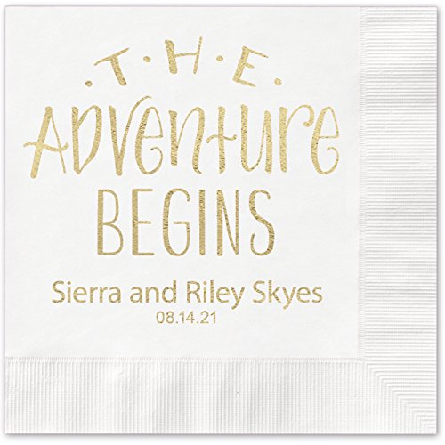 The Adventure Begins Personalized Beverage Cocktail Napkins - 100 Custom Printed White Paper Napkins with choice of foil]()
