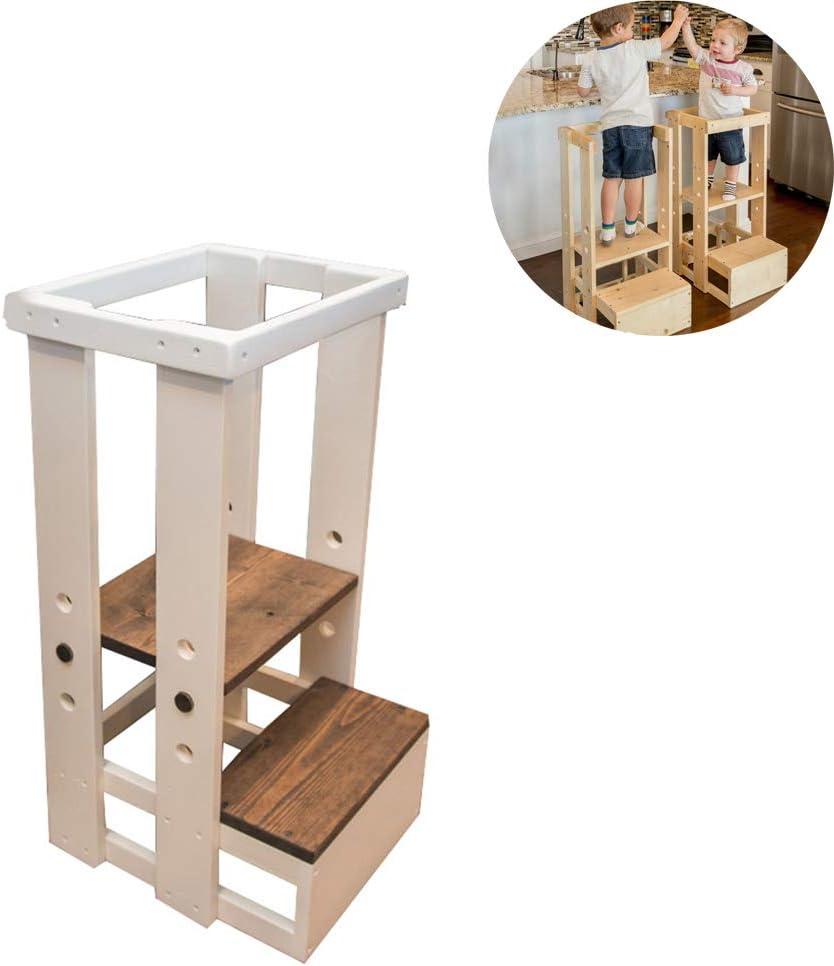 HBIAO Lernturm Kinder die f/ür Kleinkinder perfekt ist,White die Schemel erlernen k/önnen mit der festen Holzkonstruktion der Sicherheitsschiene anheben