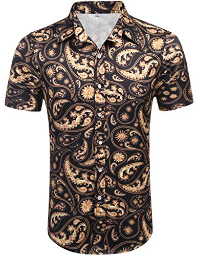 (Daupanzees Mens Short Sleeve Cotton Luxury Design Floral Carnival Baroque Retro Pattern Shows Party Daily Life Print Dress Shirt (Black S))