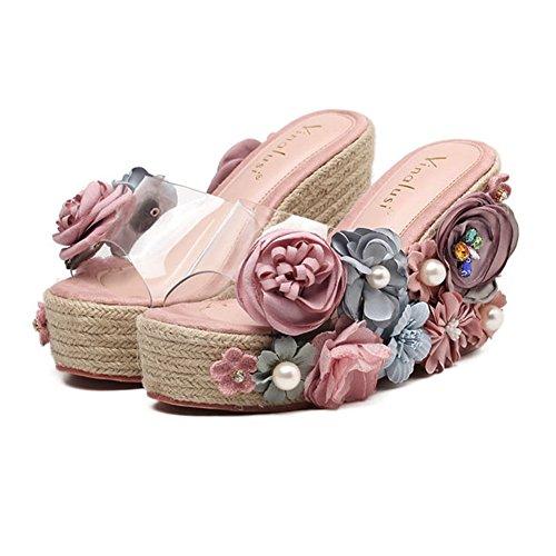 (T-JULY Women Ladies Girls Flower Wedge High Heels Slide Sandals Waterproof Open Toe Summer Beach Slippers Rose Red)