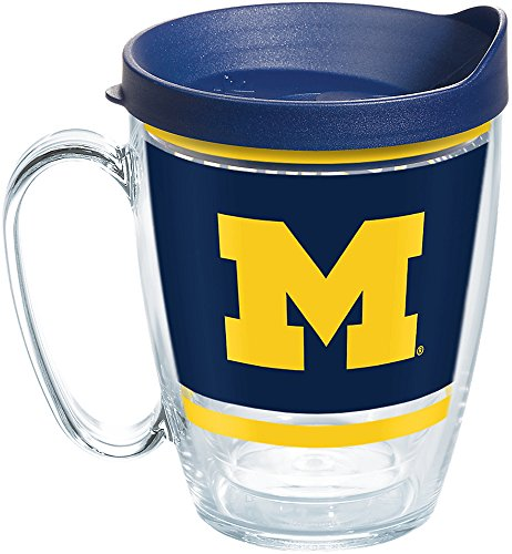Tervis 1257488 NCAA Michigan Wolverines Legend Coffee Mug With Lid, 16 oz, Clear