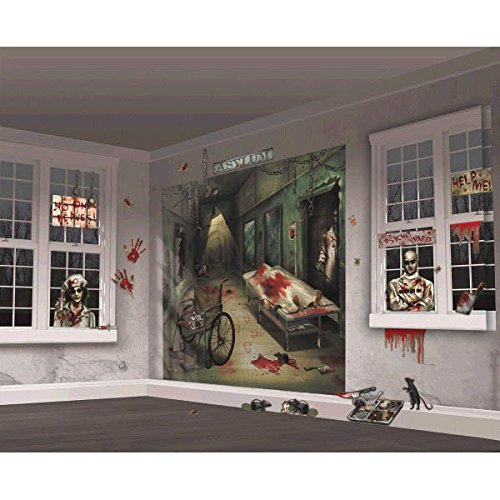 [Amscan Halloween Trick or Treat Asylum Party Scene Setters Mega Value Wall Decorating Kit (Pack of 32), Multicolor, 65