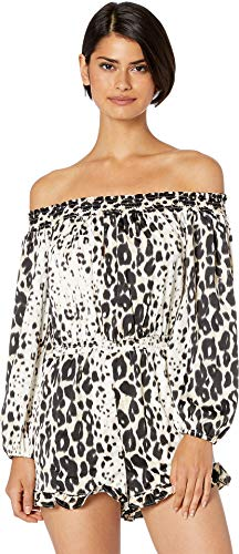 bebe Womens Off The Shoulder Ruffle Romper Mischievous Leopard XL