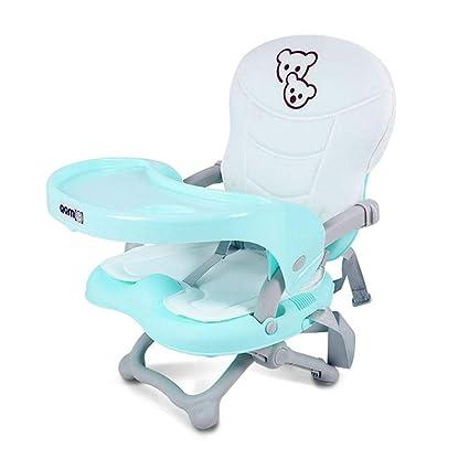Silla de mesa de comedor portátil para niños Silla de mesa plegable de bebé plegable con cojín Trona de bebé ajustable para niños silla de comedor y ...