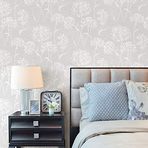 Advantage 2811-24575 Carolyn Light Grey Dandelion Wallpaper Gray (Light Gray Wallpaper)