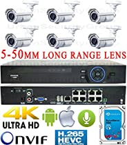 USG Business Grade H.265 4MP 2592x1520 6 Camera HD Security System : 5MP Ultra 4K Security NVR + 6x 4MP 5-50mm Vari-Focal Telephoto Lens Bullet Cameras + 1x 4TB HDD : Apple Android Phone App