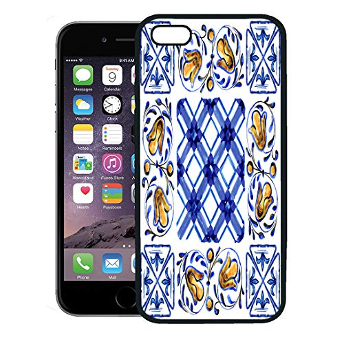 - Semtomn Phone Case for iPhone Xs case,Orange Flower Italian Majolica Watercolor on Ceramic Tiles in Blue Brown Green and Yellow Colors Pattern iPhone 7 Plus case Cover,Black