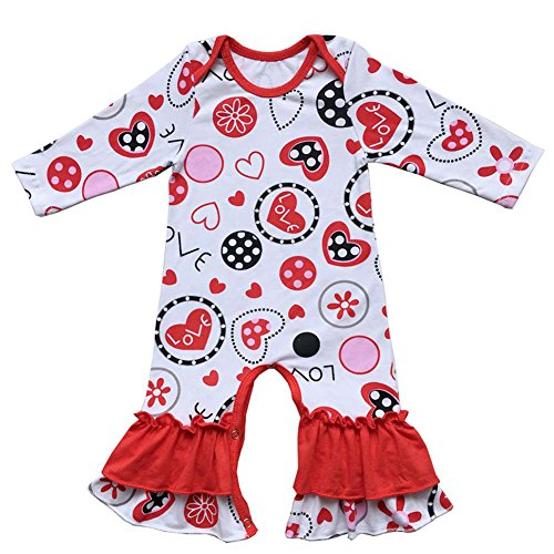 FYMNSI Baby Girls Icing Ruffle Romper Jumpsuit Bodysuit Long Sleeve Pajamas Valentine Love Easter Egg Outfits 12-18 Months