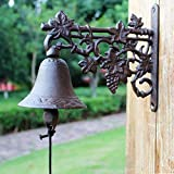 HIZLJJ Outdoor Wall-Mounted Fountains Heavy Duty Cast Iron Wall Bell Featured on an Antique Vintage Rustic Farmhouse Bracket Classic Cabin Metal Mount for Indoor Outdoor Decoration Classic Sculpture 2