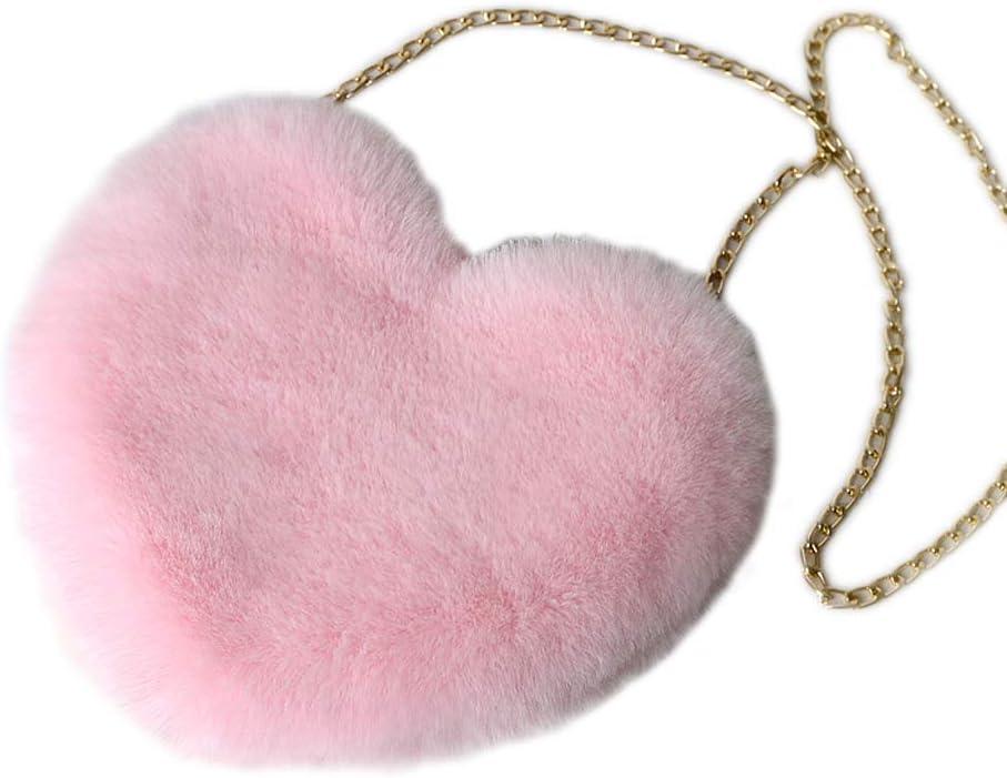 FATTERYU Women's Heart Shaped Faux Fur Crossbody Wallet Purse Chain Shoulder Bag Red Light Gray
