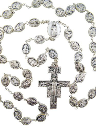 Silver Tone Saint Claire with St Francis Prayer Bead Rosary, 24 ()