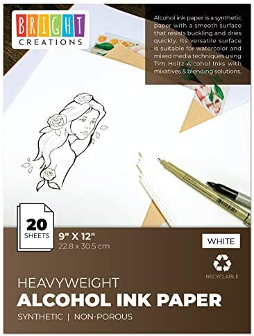 Alcohol Ink Paper for Artists and Painters (9 x 12 in, 20 Sheets)