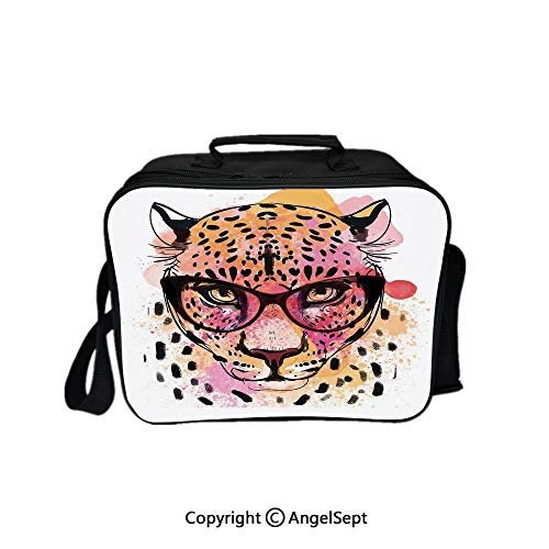 Travel Picnic Lunch Box Wide Open Lunch,Watercolor Portrait of Leopard with Glasses Splashing Paint Style Orange Pink 8.3inch,Lunch Bags For Unisex Adults