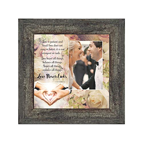 Personally Yours Love Never Ends, Christian Marriage Gift, True Love Picture Frame, 10x10 6301BW