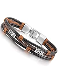 MOWOM Black Silver Tone Brown Alloy Genuine Leather Bracelet Bangle Rope