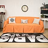 Sofa Throws 1 Piece Heavy Fabric Sofa Furniture Protector Slipcover with Pins (83''W x 170''L , Orange)