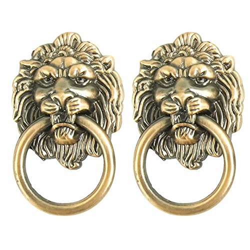 FirstDecor Set of 2 Lion Head Handle Antique Zinc Alloy Knobs Drawer Pulls/Knobs/Handles/for Kitchen Cabinets,Cupboards,Wardrobe,Drawer, Furniture Hardware