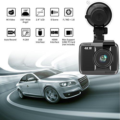 frizione 2 4 car dash cam 4k dash camera 150 degree. Black Bedroom Furniture Sets. Home Design Ideas
