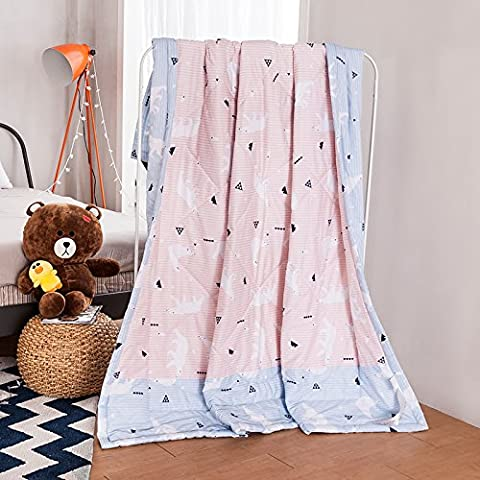 100% Cotton Made Toddler Duvet Comforter Spring & Summer Comforter / Blanket (Polar bear- Pink) - Nova Spring
