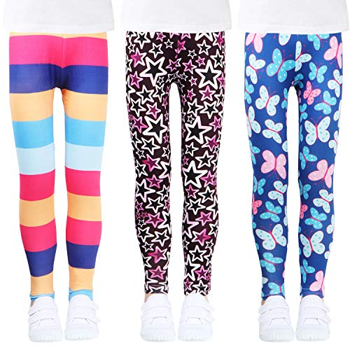 LUOUSE Girls Stretch Leggings Tights Kids Pants Plain Children Trousers, Age 2-13 Years]()
