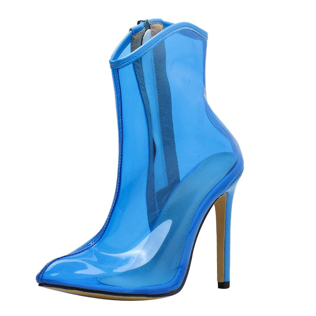 Dermanony Women's Ankle Boots Fashion Transparent Clear Heels Boots Shoes Elegant High Heel Zipper Casual Boots Blue by Dermanony _Shoes