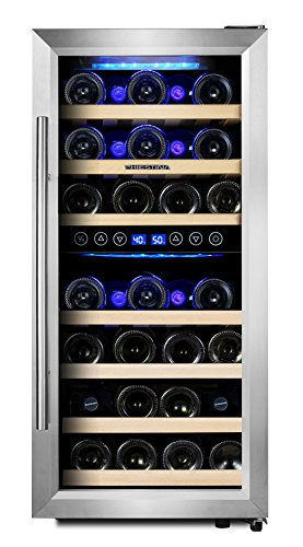 Phiestina PH-CWR100SP 33 Bottle Wine Cooler Dual Zone Compressor Cooling | Stainless Steel & Glass Door with Handle