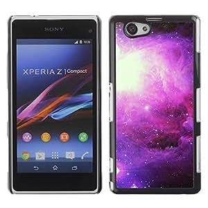 FECELL CITY // Duro Aluminio Pegatina PC Caso decorativo Funda Carcasa de Protección para Sony Xperia Z1 Compact D5503 // Universe Stars Nebulae Cosmos Purple