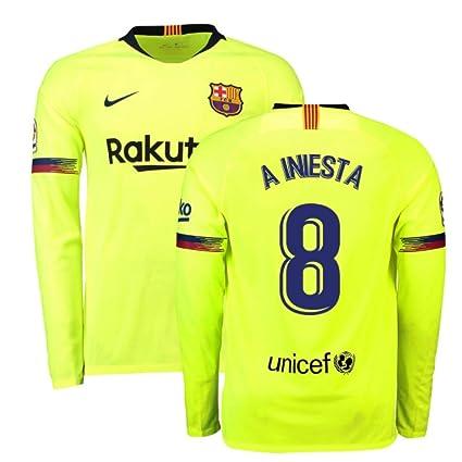3b3f3f7df19 Amazon.com   2018-2019 Barcelona Away Nike Long Sleeve Football Soccer T- Shirt Jersey (Andres Iniesta 8)   Clothing