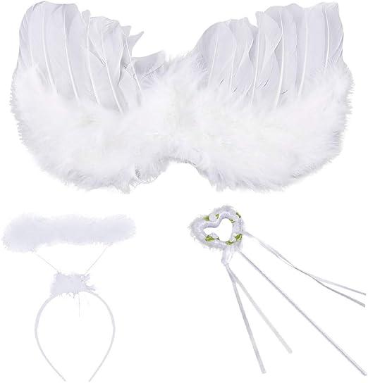 JOYKK 3 Piezas alas de Plumas de ángel Blanco Varita Halo niños ...
