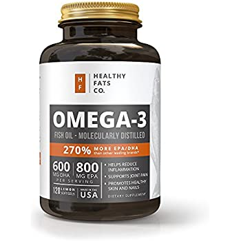 Omega 3 Fish Oil Triple Strength, Best for EPA/DHA, Fatty Acids, Burpless, 1400 Milligram Softgels 120-Count by the Healthy Fats Co.