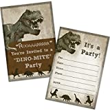 T-Rex Dinosaur Birthday Party Invitations (20 Count with Envelopes)