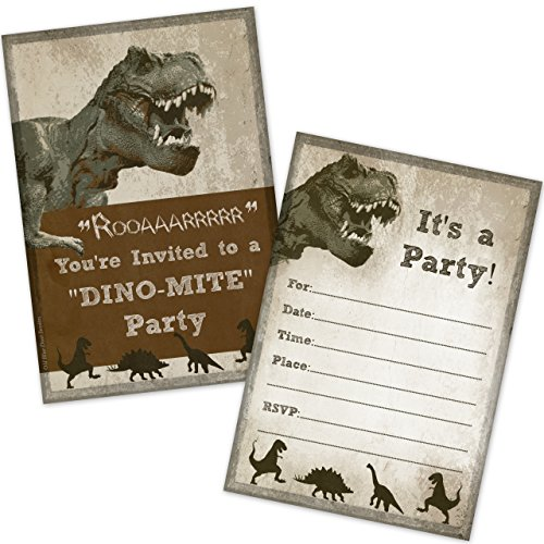 T-Rex Dinosaur Birthday Party Invitations (20 Count with Envelopes) by Old Blue Door Invites