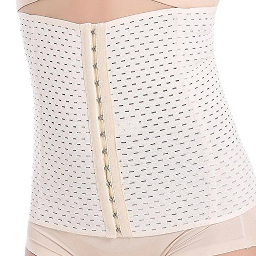 Everbellus Breathable Latex Corset Training Waist Cincher for Women (3XL, Ivory) ()