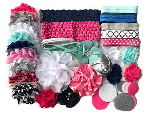 Bowtique Emilee Headband Kit DIY Headband Kit makes over 15 Headbands - Blue and Pink Mini -