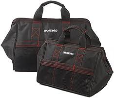WORKPRO W003500AU - Combinaciones de Bolsas de Herramientas, Boca Ancha Abierta, de 32CM y 46CM, 2 Piezas